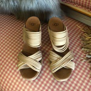 Ugg beige leather & nylon wedges sz 11